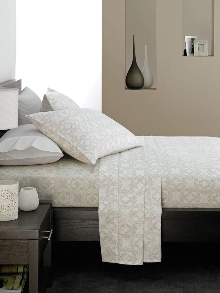 Linen House Sara Flannelette Sheet Set in Taupe, available at Forty Winks.
