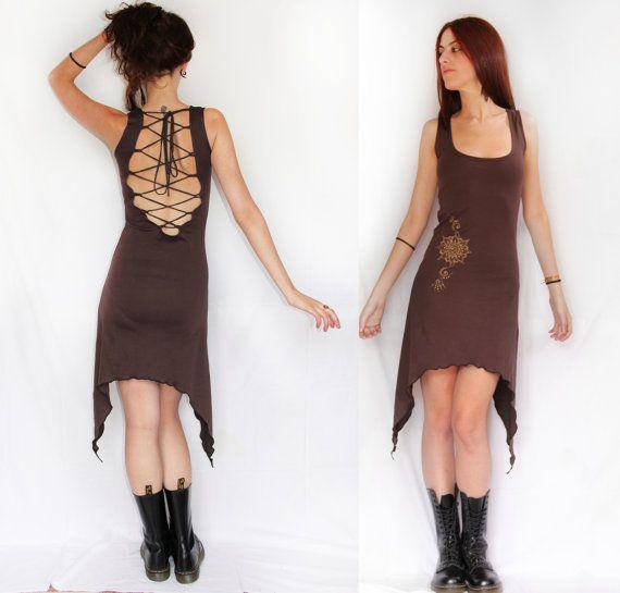 Backless summer dress. Pixie dress. romantic dress, Bohemian dress, Lace dress, goddess dress. Earthy dress