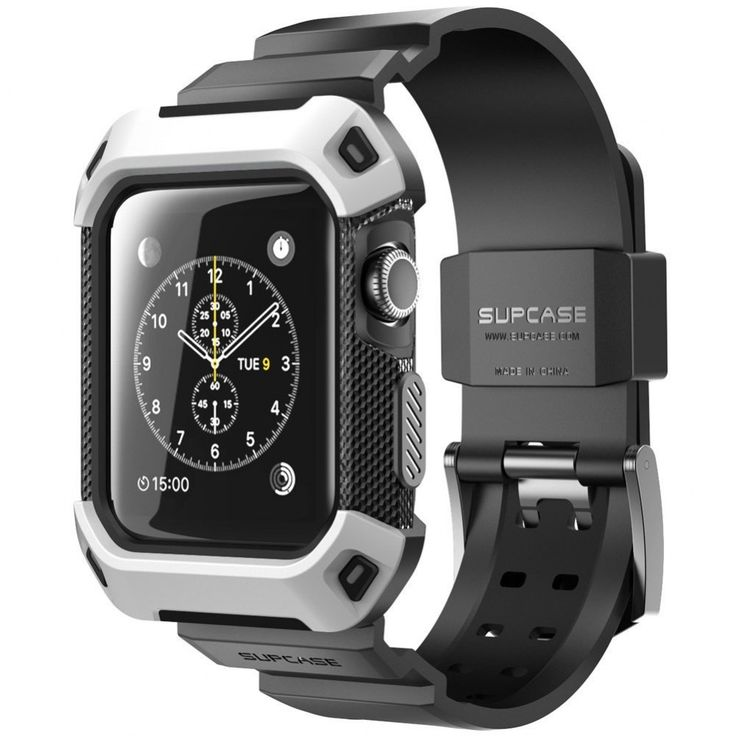Apple Watch Case 42mm Black SUPCASE Protective Rugged Bumper with Straps Bands  | eBay