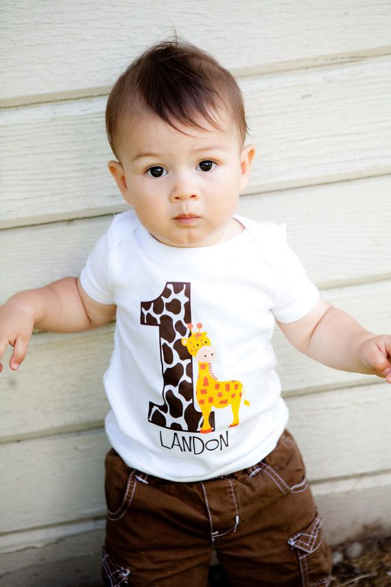 What a cute personalized shirt for a giraffe theme boy 1st birthday party!
