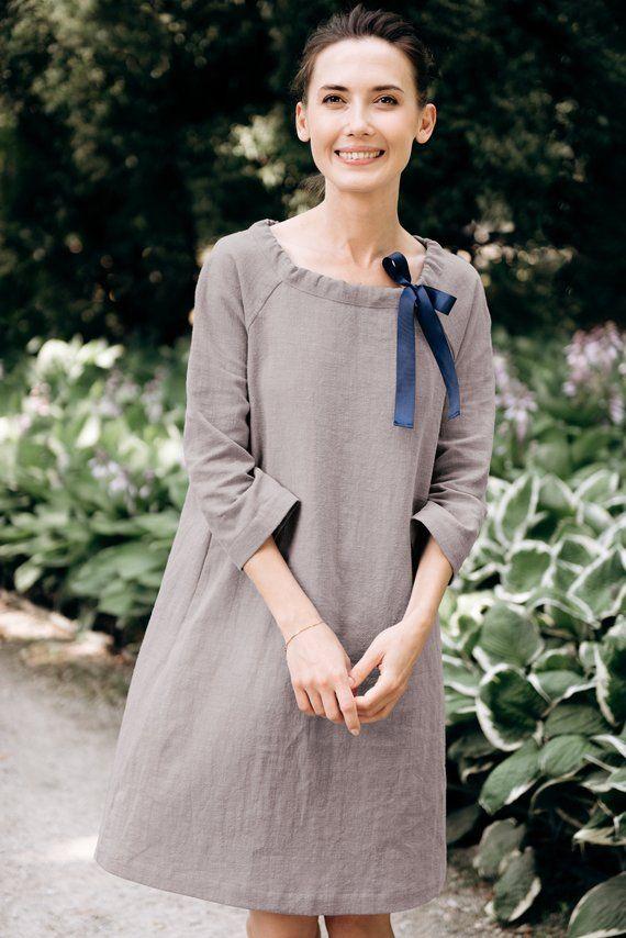 3143d10f0aa LeMuse gray FRENCH linen dress