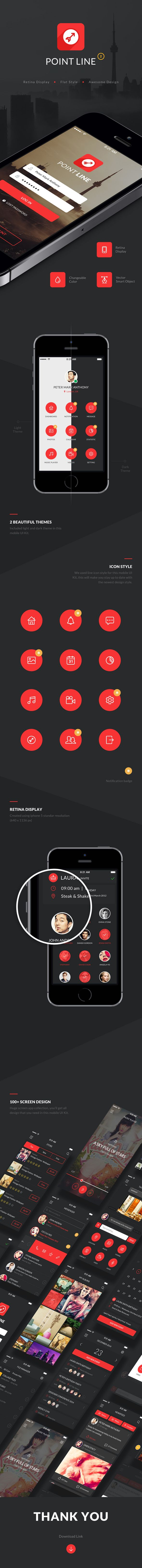 Graphic Design Inspiration - Web Design Inspiration - Press Kit - Media Kit - iphone - screenshots - app - Point Mobile UI Kit