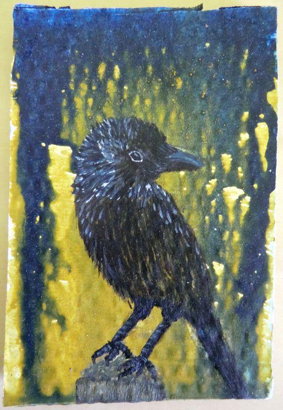 Vogel geschilderd op karton met eigengemaakte tempera.
