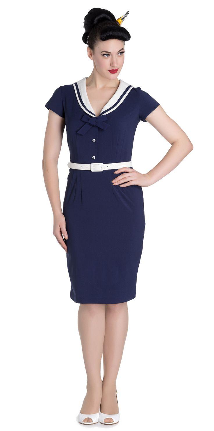 Traumhaftes Kleid im klassischen Sailor Stil Gesamtlänge ab Schulter gemessen ca. 97cm Kurze Ärmelchen Leichter V-Ausschnitt Am Ausschnitt mit cremefarbenem Kragen, mit dunkelblauer Borte...