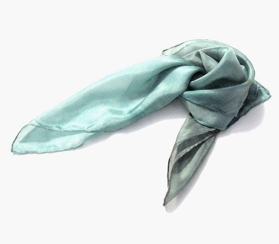 Smoke & Aqua hand dyed silk scarf Ombre light grey änd by HEraMade