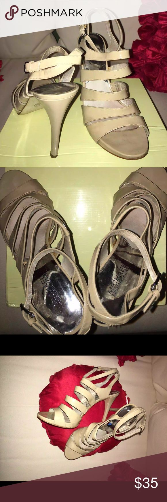Michael Kors Nude Patent Leather Sandal Size 10 Michael Kors Nude Patent Leather Strappy Sandal Women's Size 10. Every girl needs to go Nude sometimes! The perfect shoe for cuffing season! Shop & be Merry! Michael Kors Shoes Sandals