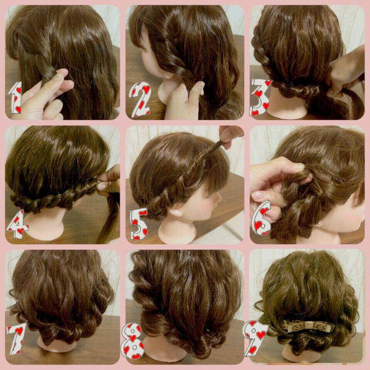 髪をすくい足しながら全周ねじるだけです。最後の毛先は結んでねじった内側に隠すように織り込んで止めます。全体バランスをみて毛を引っ張りだしほぐして完成!