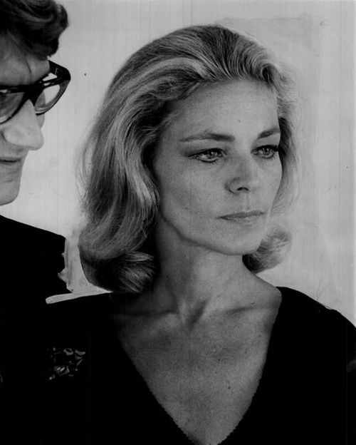 Lauren Bacall in later years. It looks as though Yves St Laurent is with her............