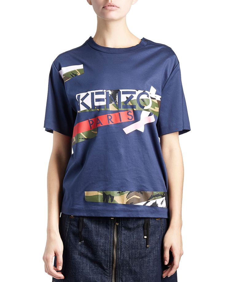 Cotton Jersey Camo Tee, Dark Blue