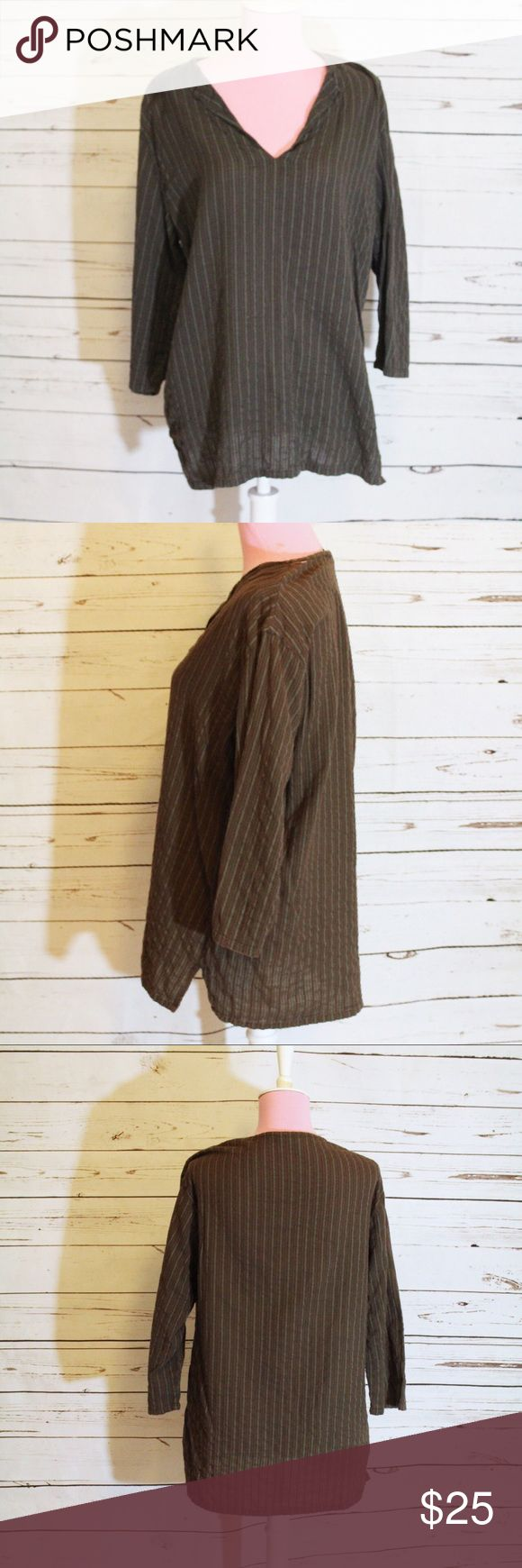 French Connection 3/4 Sleeve Pinstripe Shirt This is a 3/4 sleeve brown and green pinstrip shirt from French Connection. Size large. V-neck, Good used condition. French Connection Tops