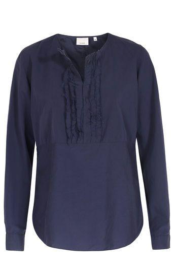 Caliban 820 Baumwoll-Mix Bluse mit Rüschen-Details Navy bei myClassico - Premium Fashion Online Shop