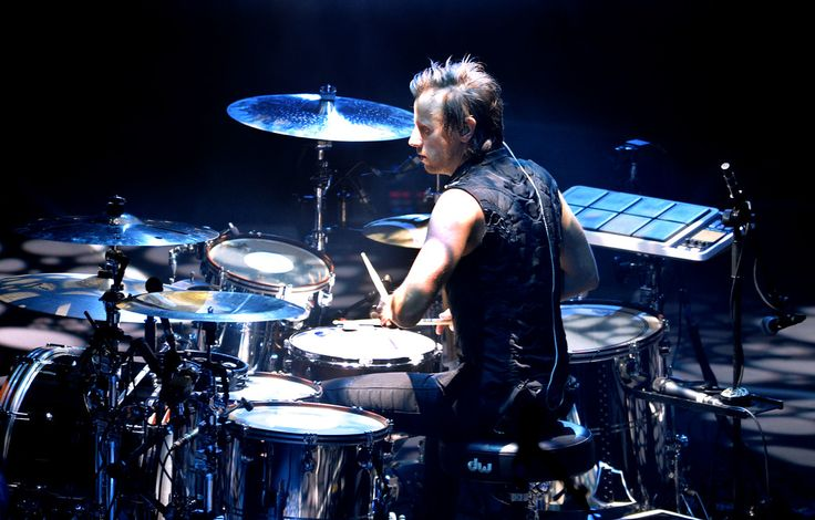 . Dominic Howard, with the band Muse, plays drums during the band�s �Drones World Tour� concert at Oracle Arena in Oakland, Calif., on Tuesday, Dec. 15, 2015. (Doug Duran/Bay Area News Group):