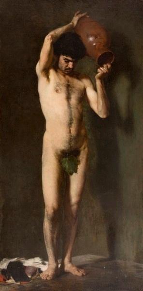 Ιακωβίδης Γεώργιος (1853 - 1932)    Γυμνό ανδρικό με φύλλο συκής και στάμνα    1877 ελαιογραφία