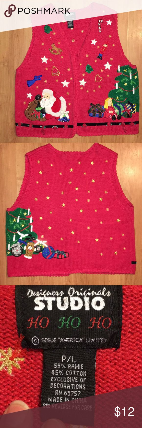 🎄 Tacky Christmas sweater vest Vintage size petite large tacky/ugly Christmas sweater vest. No rips, holes or stains. It measures 20 inches from underarm to underarm. It's 22 inches long. Great detailing on the front & back! ❤️ Designer Originals Studio Sweaters V-Necks