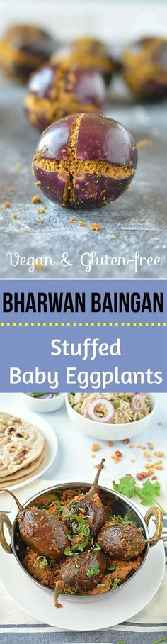 Enjoy the healthy and delicious bharwan baingan Recipe that is stuffed with medley of spices, lentils and peanuts. Now this is what I call comfort food – surprisingly easy to make vegan and a gluten free recipe!