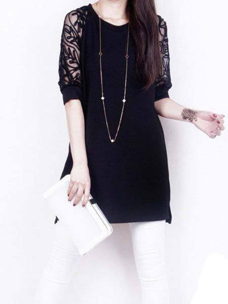 Fashion Women Summer Maxi Loose Lace Short Sleeve Round Neck Dresses at Banggood