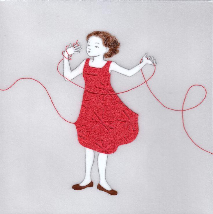 『誰かにつながる赤い糸 13』(シリーズ作品) アクリル絵具・トレーシングペーパー 15cm×15cm