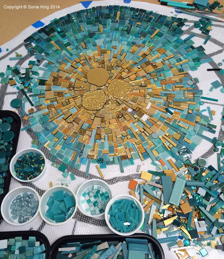 Mosaic element for Hall Arts in the Dallas Arts District by Sonia King Mosaic Artist