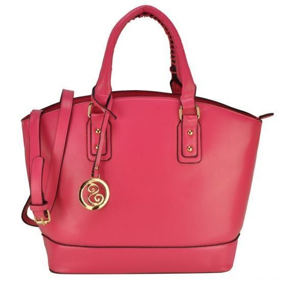 Danni Curved Tote Bag With Metal Tag - Pink - The Handbag Hut