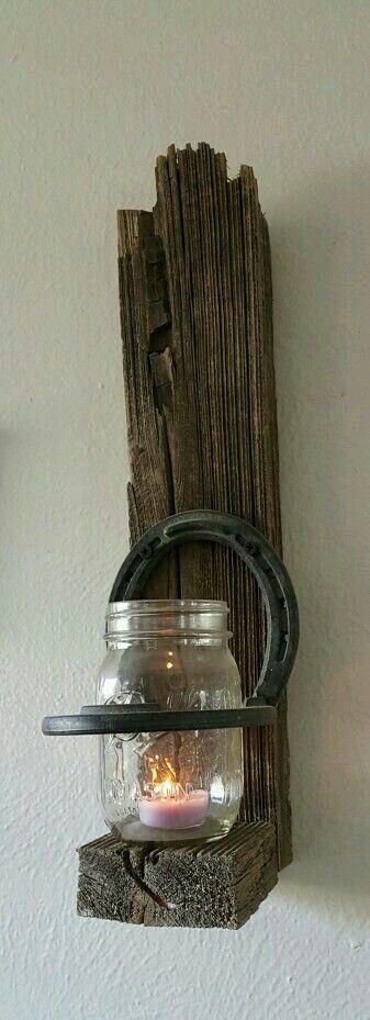Mason jar horseshoe sconce