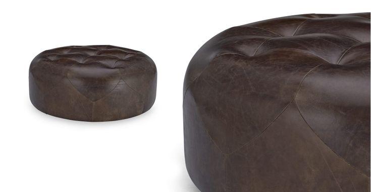 Scott ronde poef large in vintage bruin topkwaliteit leer   made.com