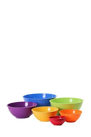 "Set of 6 melamine mixing bowls in different sizes and a various colors. Handy to have in the kitchen when preparing food and baking.<div class=""pdpDescContent""></div>"