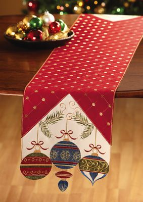 Holiday Embroidered Christmas Table Runner