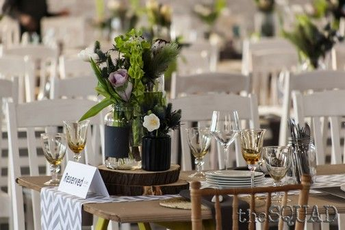 The themes of the event were carried through to the table settings.