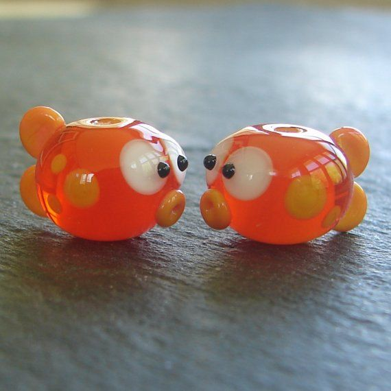 Lampwork beads 630 Fish Pair 2 Orange Fish by beadgoodies on Etsy