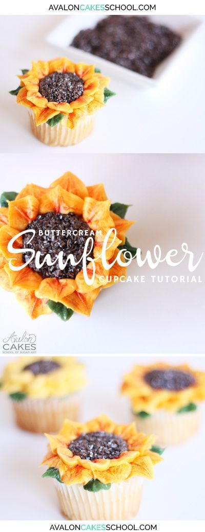 How to make buttercream sunflower cupcakes! No piping tips needed! Anyone can make these! Delicious and perfect for summer! Cupcake buttercream flower tutorial FREE! www.avaloncakesschool.com/blog