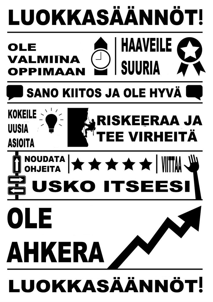 Classroom rules (Finnish): Be ready to learn | dream big | say please & thank you | try new things | take risks & make mistakes | follow directions | believe in yourself | raise your hand | work hard