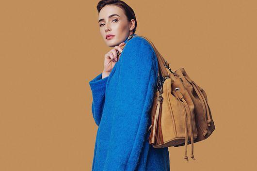 torby na ramię - damskie-Torebka worek skórzany zamszowy miodowy