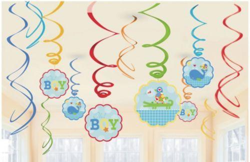 Ahoy Baby Boy Swirl Decorations 12 pack  