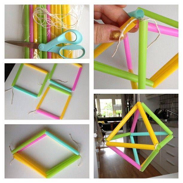 Här kommer en efterfrågad tutorial:) 1. Du behöver sugrör, tråd ( inte för blank då knutarna lätt går upp då) klipp sugrören i önskad längd, eller behåll fullängd. 2. Trä och knyt ihop 4 sugrör till en fyrkant, gör 3 st sådana fyrkanter 3. Knyt ihop två av fyrkanterna i ovan och underdel 4. Trä den sista fyrkanten runt de andra två och fäst med snörstumpar i varje hörn. 5. Voila! #sugrör #straw #mobil #mobile #diy#pyssel #tutorial #Padgram