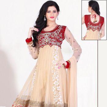 Beige Net Readymade Anarkali Churidar Kameez