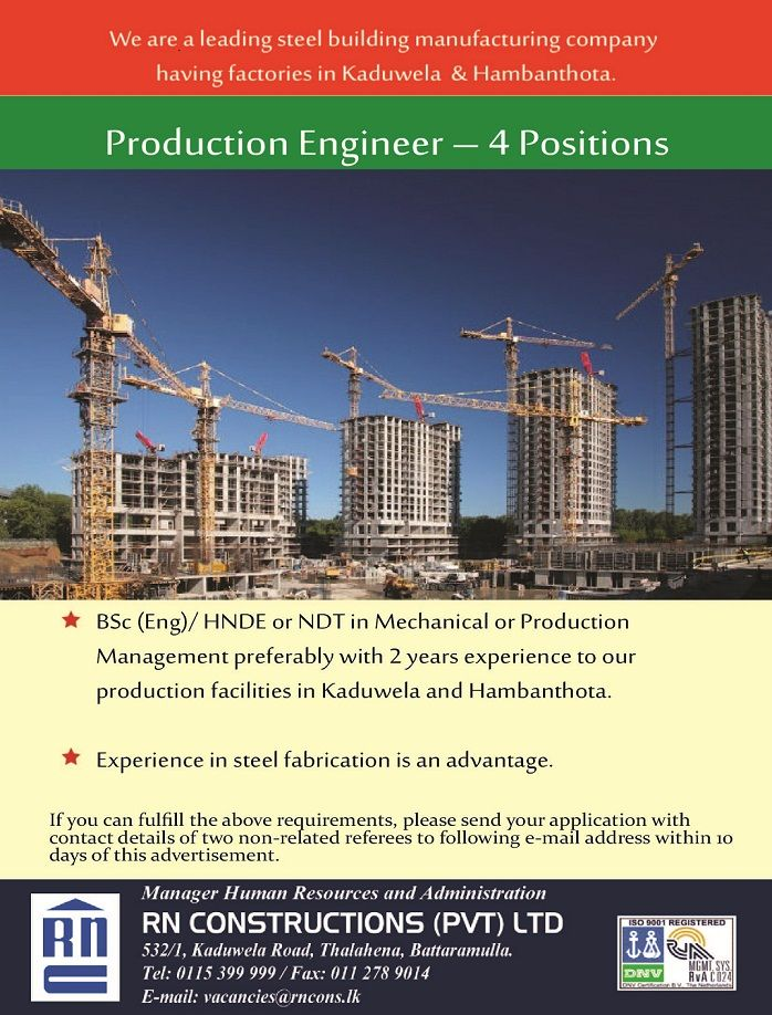 product engineer at rn construction career first engineering jobs pinterest engineering jobs product engineering and engineering vacancies - Production Engineering Job
