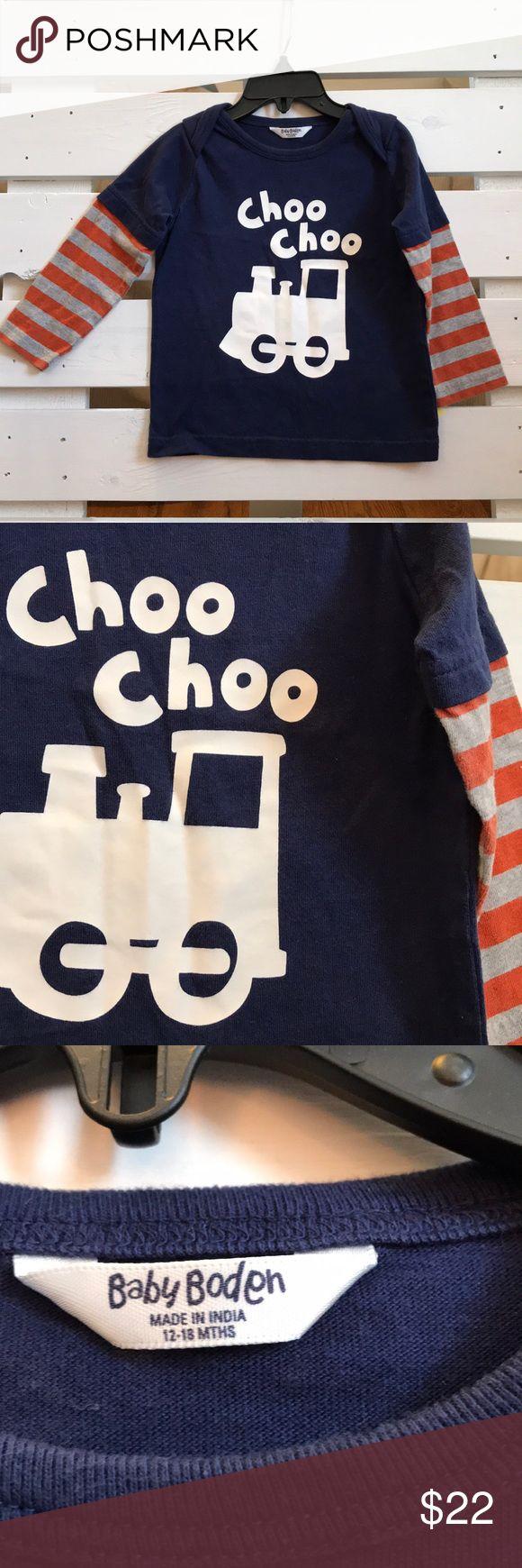 BABY BODEN Boys Choo Choo Train Long Sleeve 12-18m Baby Boden boys Choo Choo train long sleeve. Good condition! Smoke and pet free home. Mini Boden Shirts & Tops Tees - Long Sleeve