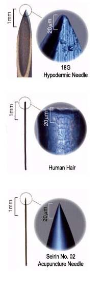 Terrific illustration of the size of an acupuncture needle vs. a hypodermic vs. a human hair