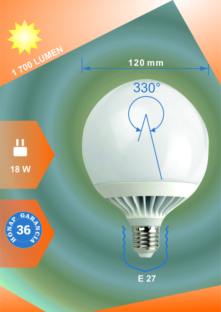 Led körte égő 18W 1700 Lumen E27 MelegFehér Life Light Led 3 690 HUF