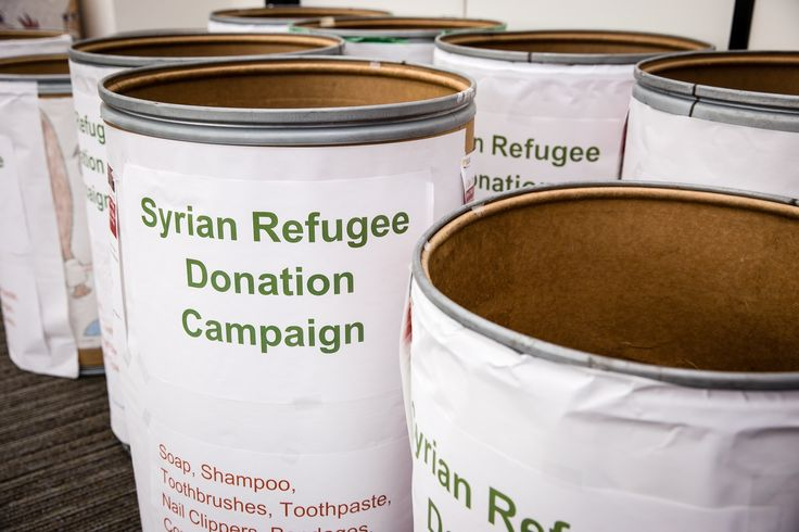 Syrian refugee donation bins were set up at several SCE facilities to collect items to include in care packages.
