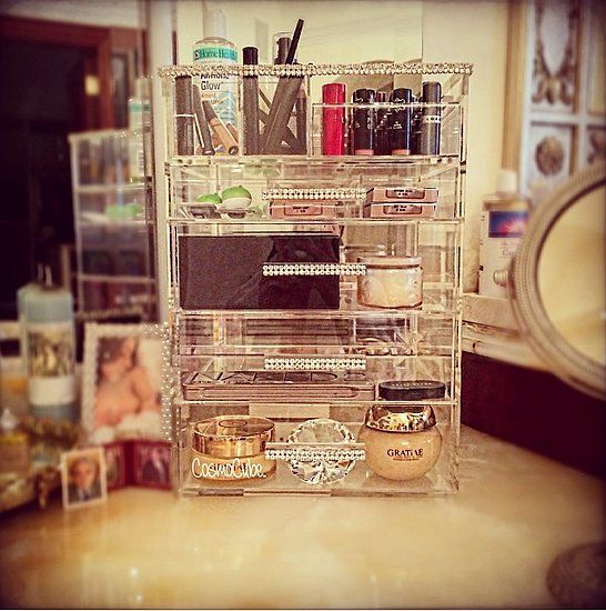 How to Organize Your Makeup | POPSUGAR Beauty - pretty bling and you can see everything!