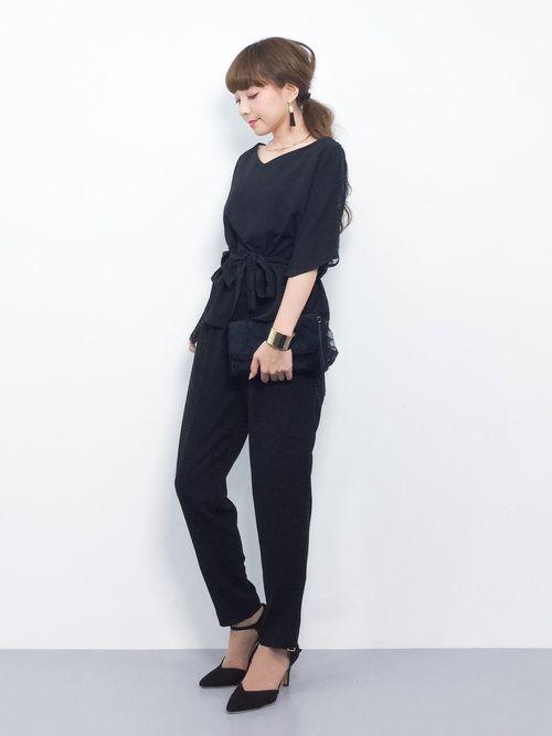 ZOZOTOWN|ayumi )さんのつなぎ/オールインワン「\平子理沙さん着用/ドルマンレースセットアップパンツ【結婚式・お呼ばれ対応】(DRESS LAB|ドレスラボ)」を使ったコーディネート
