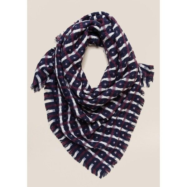 Annie Woven Plaid Scarf - Navy (600 EGP) ❤ liked on Polyvore featuring accessories, scarves, navy, woven scarves, braided scarves, tartan scarves, tartan plaid scarves and navy scarves