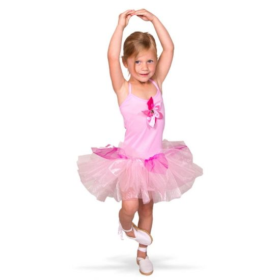 Ballerina kostuum voor meisjes. Roze ballerina kostuum met tule rokje voor meisjes. Exclusief schoenen.