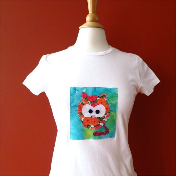 Tshirt womens cat white slim fit applique small by BoosTees, $18.00