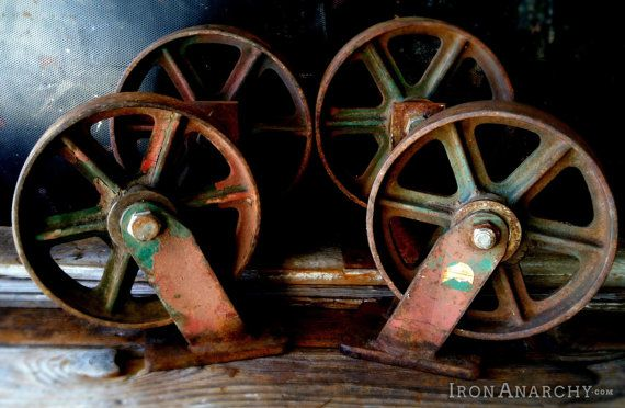 8 Antique Industrial Cart Wheels Vintage Cast Iron Metal Factory Lineberry Furniture Casters