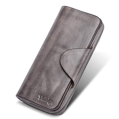 Women/'s Large Luxury RFID Blocking Leather Wallet Zipper Ladies Clutch Purse