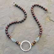 Hammered Sterling and Black Pearl Necklace