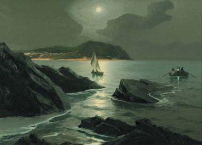 Saverio Seassaro (1917) Scogliere di Nervi, 1966 olio su tela, cm 50x70, f