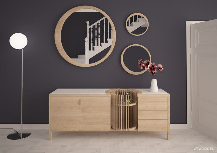 New #Carrousel sideboard in solid oak and #Luna mirrors from Wewood collection.